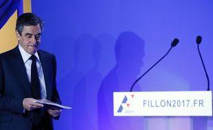 François Fillon, lors de la présentation de son programme lundi 13 mars, à Paris.