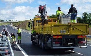 Illustration de travaux sur la route départementale 177 entre Rennes et Redon.