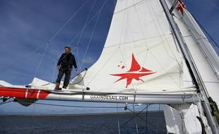 Goulwen Joss, skipper de Grain de Sail, à son arrivée à Nantes le 17 février 2021.