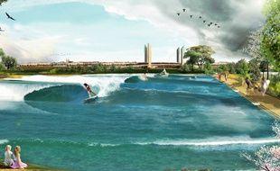 Une illustration artistique du projet porté par Surf Park Bordeaux.