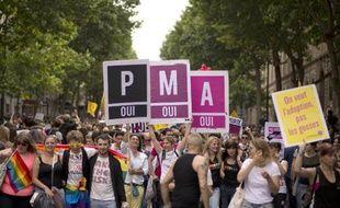La PMA (procréation médicalement assistée) réclamée par les participants à la gay pride le 29 juin 2013 à Paris