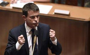 Manuel Valls s'adresse à l'Assemblée nationale le 16 septembre 2014 pour sa déclaration de politique générale, juste avant le vote de confiance, à Paris
