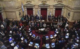 Le sénat argentin au début des débats sur la légalisation de l'avortement, le 8 août 2018.