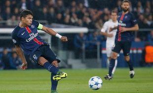 Thiago Silva, le défenseur du PSG, le 21 octobre 2015 contre le Real Madrid.