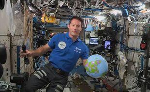 Thomas Pesquet en apesanteur le 30 avril 2021 (AFP PHOTO/European Space Agency)