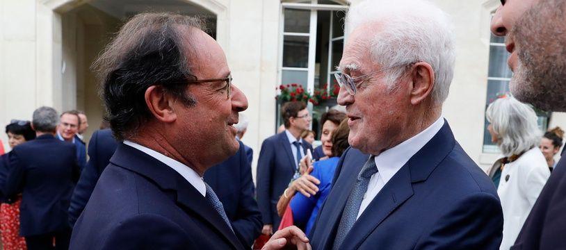 François Hollande et Lionel Jospin au Sénat, le 17 juillet 2019.