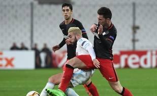 Romain Alessandrini, blond ce jeudi 18 février à Marseille face à Bilbao en Ligue Europa