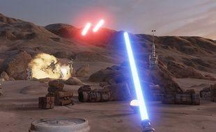 Une scène de l'expérience «Star Wars Trials on Tatooine» pour le HTC Vive.