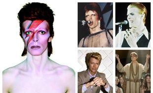Différents visages de David Bowie.
