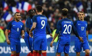 La joie des Bleus lors de France-Russie, le 29 mars 2016 au Stade de France.