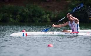 Maxime Beaumont lors des championnats d'Europe de kayak à Belgrade, en juin 2018.