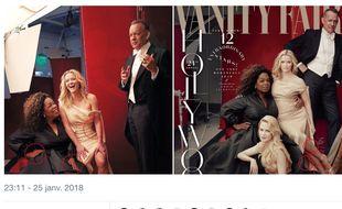 Capture d'écran d'un tweet pointant du doigt les erreurs de retouches grossières en Une du nouveau numéro de Vanity Fair.
