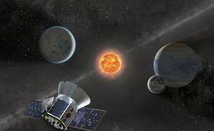 Vue d'artiste du télescope TESS, dont le lancement a été retardé.