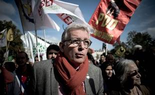 Pierre LAURENT (PCF Parti Communiste Francais), takes part to the  demonstration in support of the Kurdish people and the HDP, the main pro-Kurdish party in Turkey, was held in Paris Place de la Republique. Paris, France, 11 October 2015. Photo the by Nicolas Messyasz / Sipa Press/NICOLASMESSYASZ_0023_2015_10_11a_260a_2/Credit:NICOLAS MESSYASZ/SIPA/1510111843