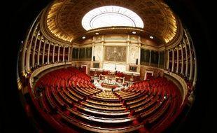 Paris, le 4 mars 2009. Photo de l'hémicycle de l'Assemblée nationale avant une séance de questions au gouvernement.
