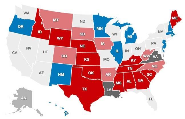 La carte du Sénat (les Etats républicains en rouge, les démocrates en bleue, ceux encore indécis en gris)