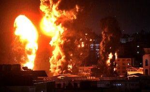 L'armée israélienne a lancé une série de frappes sur Gaza, le 17 mai 2021.
