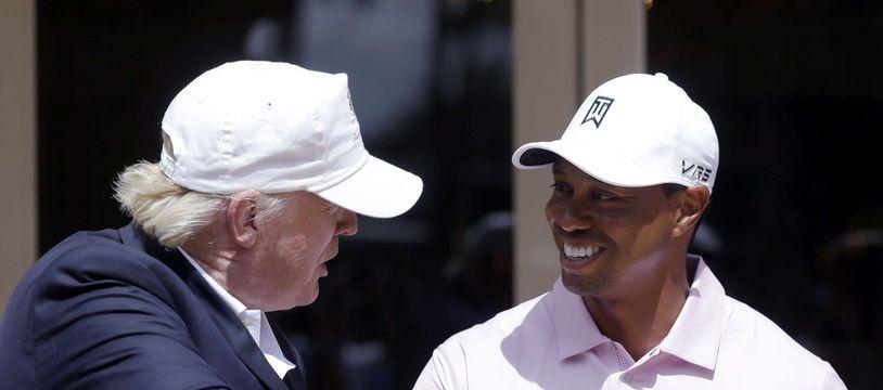 Donald Trump et Tiger Woods, ici en 2014.
