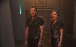 Jude Law et Brie Larson, pendant le tournage de «Captain Marvel».