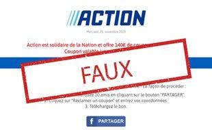 Relayée sur Facebook, un formulaire douteux prétend permettre de gagner 140 € de bons d'achat valable chez Action. Il s'agit d'une arnaque.