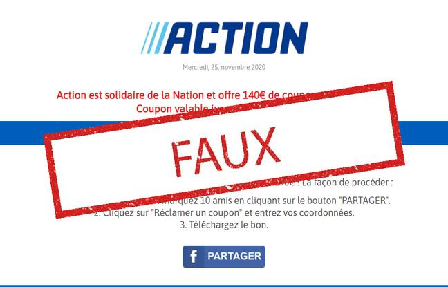 Non, les supermarchés Action ne proposent pas 140 euros en bons d'achat. C'est une arnaque !