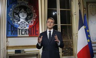 Emmanuel Macron, lors de ses voeux le 31 décembre 2018. Crédit:Michel Euler-POOL/SIPA.