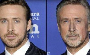 L'acteur Ryan Gosling avant et après le filtre de FaceApp.