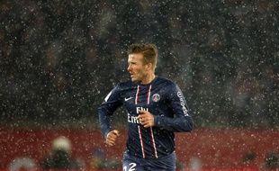 Le joueur du PSG, David Beckham, lors de son premier match avec Paris, le 24 février 2013 au Parc des Princes contre l'OM.
