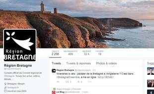 La région Bretagne est la plus suivie sur le réseau social Twitter.