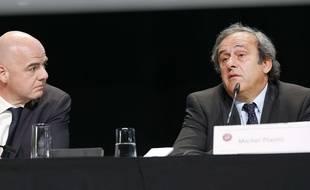 Gianni Infantino et Michel Platini lors d'un congrès de l'UEFA à Zurich, le 28 mai 2015.