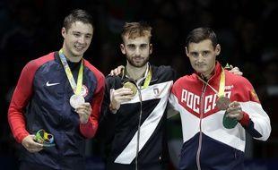 Daniele Garozzo (au centre), médaille à Rio en 2016.