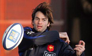 Christophe Dominici à l'entraînement avec le XV de France, en 2006.