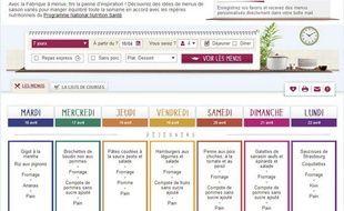 Capture d'écran de La Fabrique à menus, un site qui fait (presque) à manger à votre place