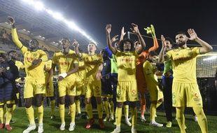 La joie des Nantais devant la tribune Loire à l'issue de la victoire (2-1) contre Lyon.