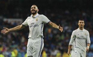 Karim Benzema fête un but lors d'un match entre le Real Madrid et Bilbao le 23 octobre 2016.