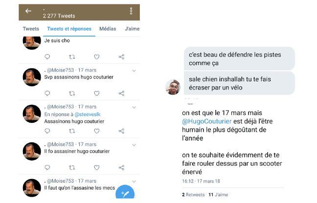 Captures d'écran de certains messages reçus par Hugo Couturier.