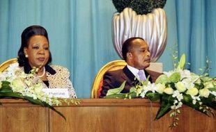 La présidente de transition de la Centrafrique Catherine Samba Panza et le président congolais Denis Sassou Nguesso (d) à Brazzaville, le 21 juillet 2014