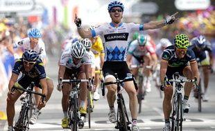 Tyler Farrar (Garmin) Célèbre sa victoire de la troisième étape du Tour de France, lundi 4 juillet 2011.