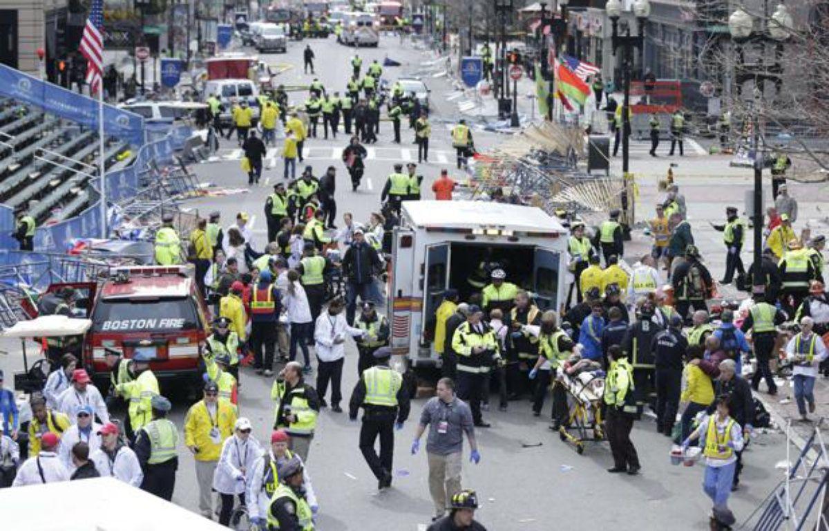 La ligne d'arrivée du marathon de Boston, secouée par deux explosions, le 15 avril 2013. – Charles Krupa/AP/SIPA