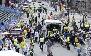 La ligne d'arrivée du marathon de Boston, secouée par deux explosions, le 15 avril 2013.