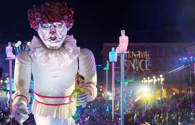 Nice: Un Donald Trump en clown terrifiant, star du Carnaval dédié au Septième art