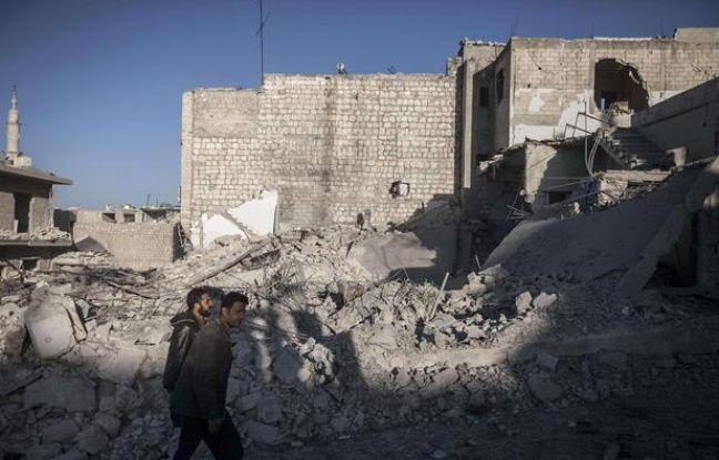 Zone bombardée dans la province de Idlib en Syrie.