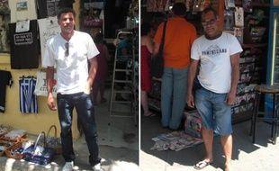 Mohammed, vendeur dans une boutique de souvenirs (à gauche) et Raja, kiosquier (à droite), à Athènes, le 21 juin 2011.
