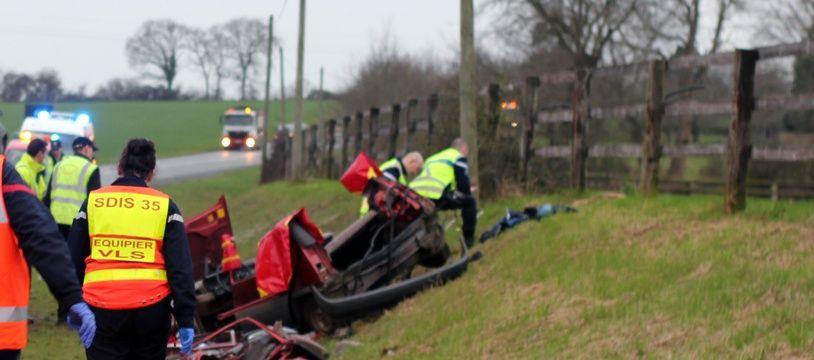 Un accident de la route, ici près de Rennes en 2016.