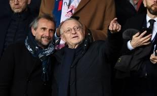 Jean-Michel Aulas avec Jean-Claude Blanc lors de PSG-OL au Parc des Princes, le 29 février 2020.