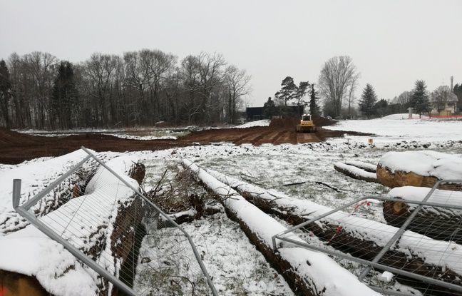 Des travaux de terrassement en cours sur l'échangeur nord du projet autoroutier controversé du Grand contournement ouest de Strasbourg malgré la neige tombée ce mercredi.