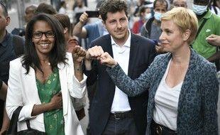 Audrey Pulvar, Julien Bayou et Clémentine Autain à Aubervilliers ce lundi après l'annonce de leur union en vue du second tour des régionales.