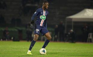 Tanguy Kouassi sous le maillot du PSG lors d'un match de Coupe de France contre Linas Montlhéry, le 5 janvier 2020.