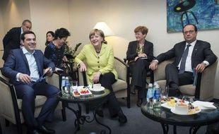 Tsipras,Merkel et Hollande sur le même cliché pris en Lituanie, le 20 mai 2015