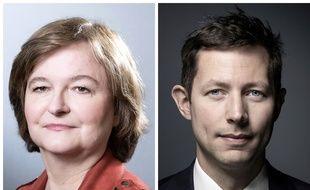 Nathalie Loiseau, tête de liste de la majorité En Marche aux élections européennes (gauche) et son homologue de la liste LR François-Xavier Bellamy (droite).